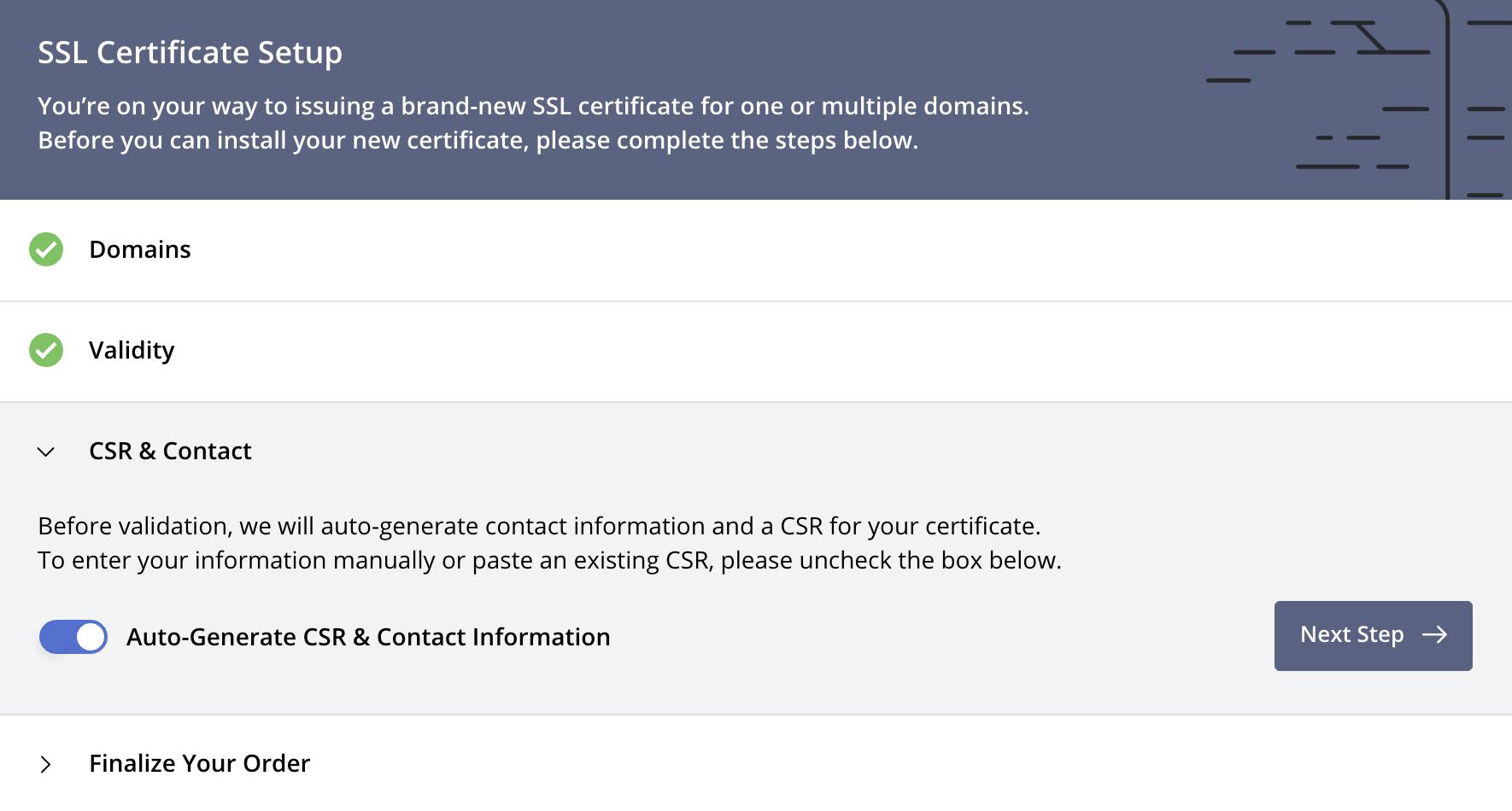Create Certificate: CSR & Contact