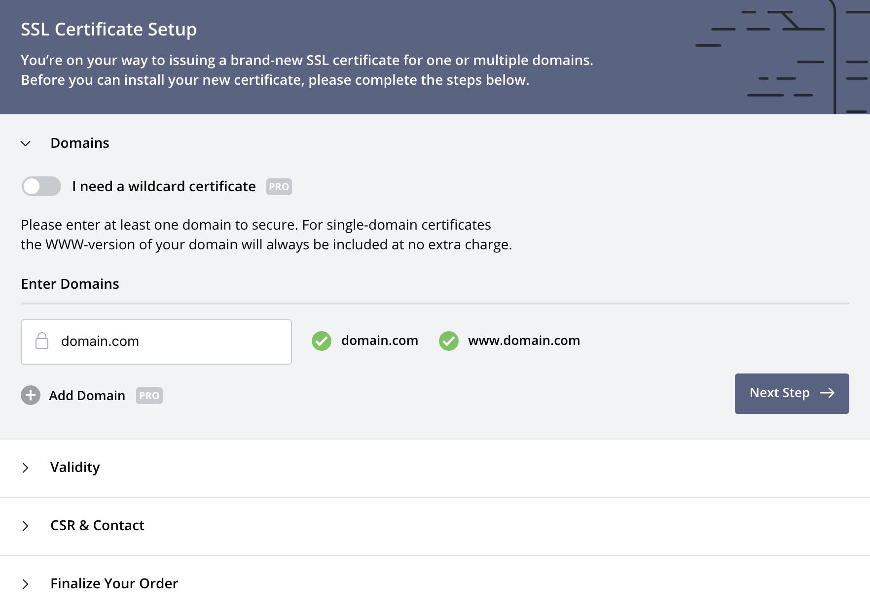 Create Certificate: Domains