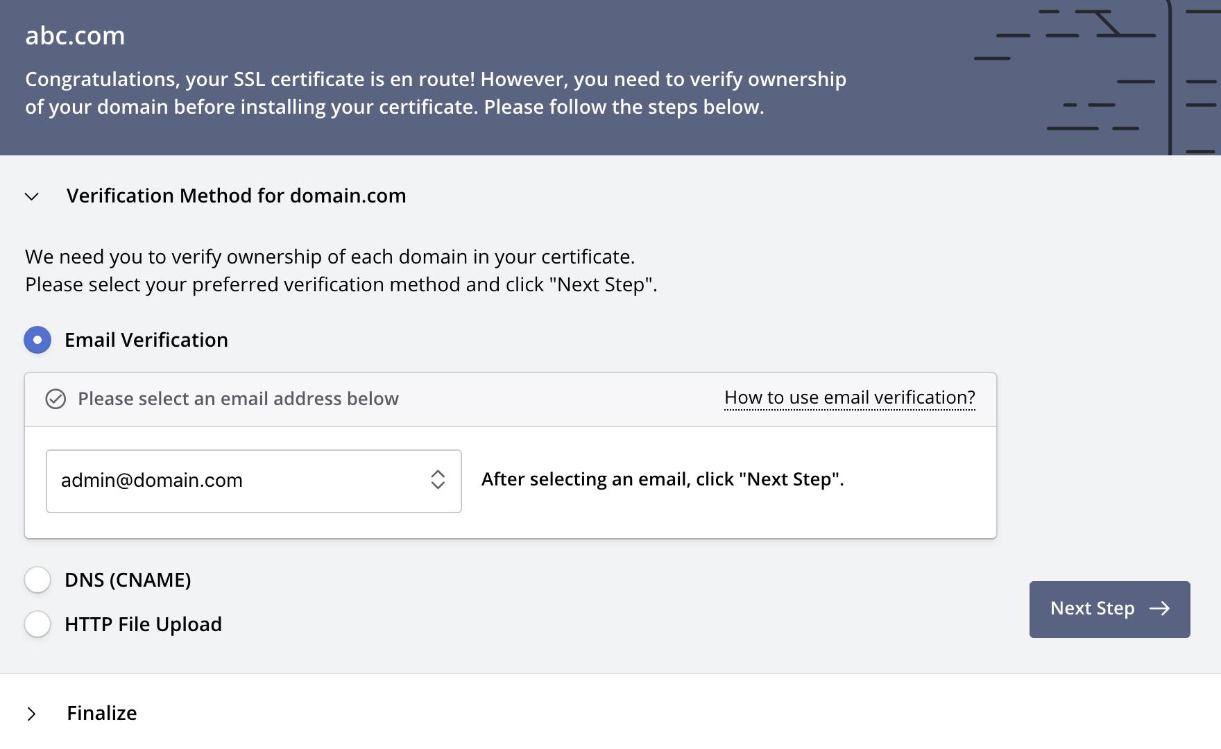Verify Domains: Email Verification